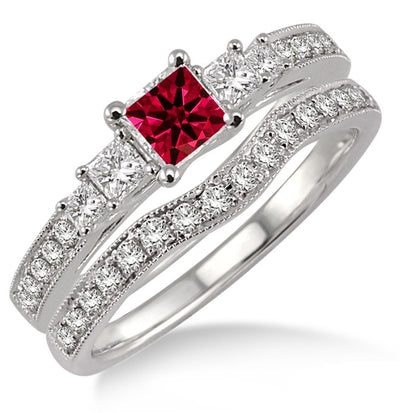 1.5 Carat Ruby Antique Bridal set Halo Ring on 10k White Gold