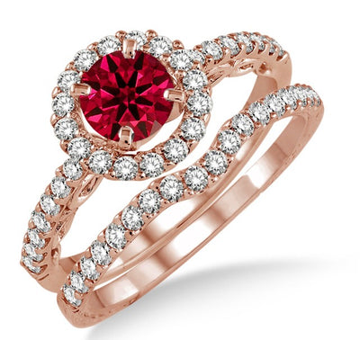 1.5 Carat Ruby Antique Floral Halo Bridal set on 10k Rose Gold