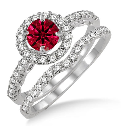 1.5 Carat Ruby Antique Floral Halo Bridal set on 10k White Gold