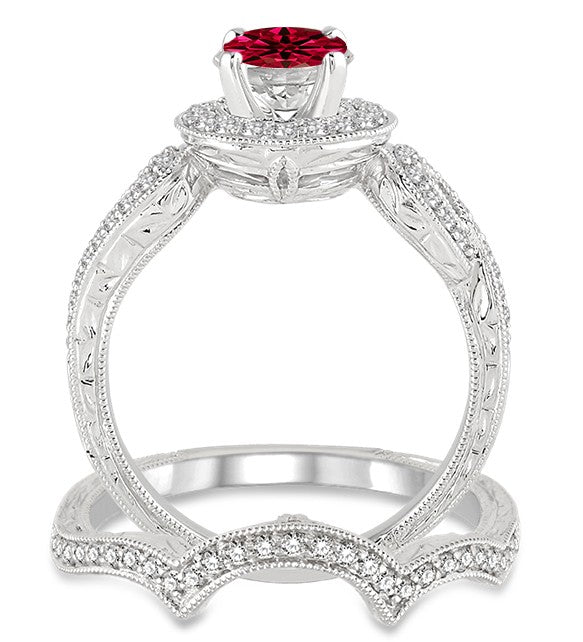 1.5 Carat Ruby Antique Halo Bridal Set Engagement Ring on 10k White Gold