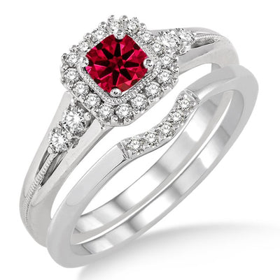 1.5 Carat Ruby Bridal Set Halo Engagement Ring Bridal Set on 10k White Gold