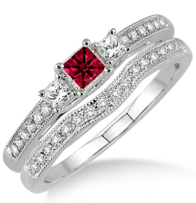 1.5 Carat Ruby Three Stone Bridal Set on 10k White Gold