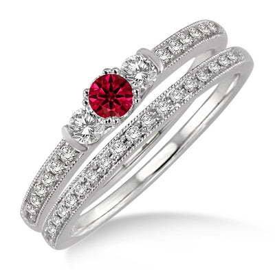 1.5 ct Ruby Three Stone Bridal Set on 10k White Gold