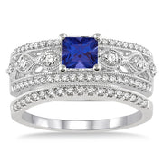 1.5 Carat Sapphire and Moissanite Diamond Antique Bridal Set Engagement Ring on 10k White Gold