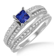 1.5 Carat Sapphire and Moissanite Diamond Antique Bridal set Ring on 10k White Gold