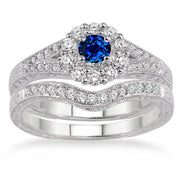 1.5 Carat Sapphire and Moissanite Diamond Antique Floral Bridal set on 10k White Gold