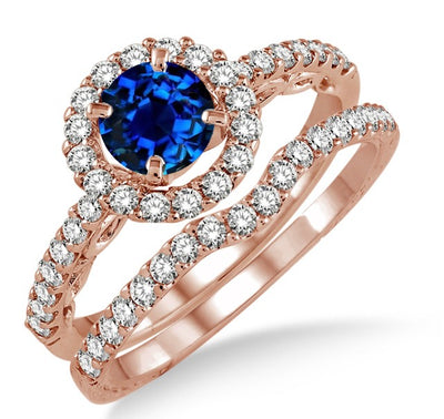 1.5 Carat Sapphire and Moissanite Diamond Antique Floral Halo Bridal set on 10k Rose Gold