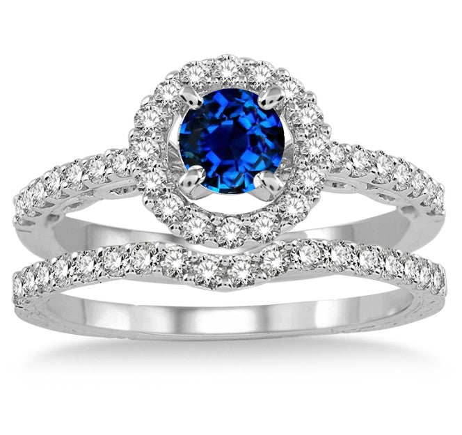 1.5 Carat Sapphire and Moissanite Diamond Antique Floral Halo Bridal set on 10k White Gold