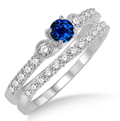 1.5 Carat Sapphire and Moissanite Diamond Antique Three Stone Bridal Set on 10k White Gold