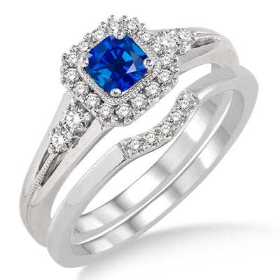 1.5 Carat Sapphire and Moissanite Diamond Bridal Set Halo Engagement Ring Bridal Set on 10k White Gold