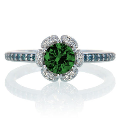 1.5 Carat Unique Flower Halo Round Emerald and Moissanite Diamond Engagement Ring on 10k White Gold
