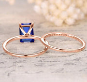 1.50 carat Blue Sapphire and Moissanite Diamond Bridal Set in 10k Rose Gold