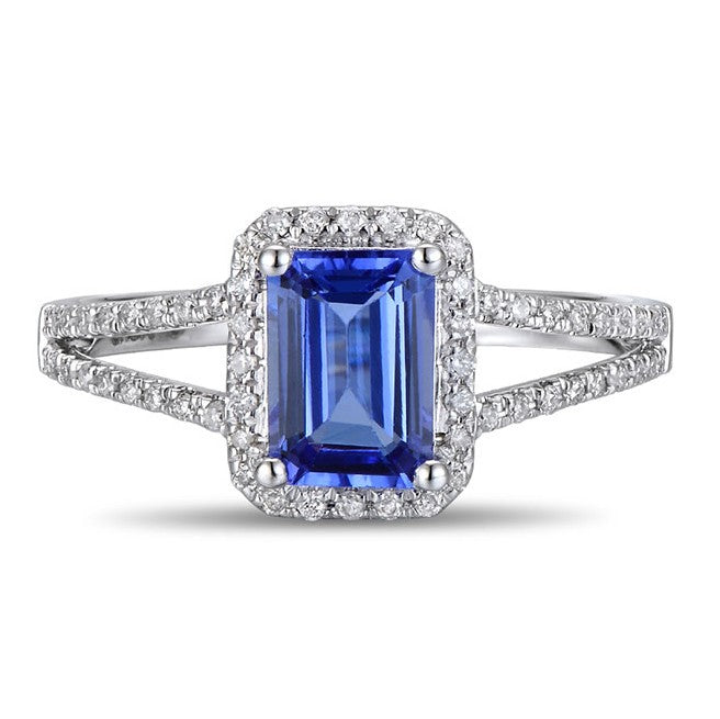 1.50 Carat Blue Sapphire and Moissanite Diamond Halo Engagement Ring for Women in Gold