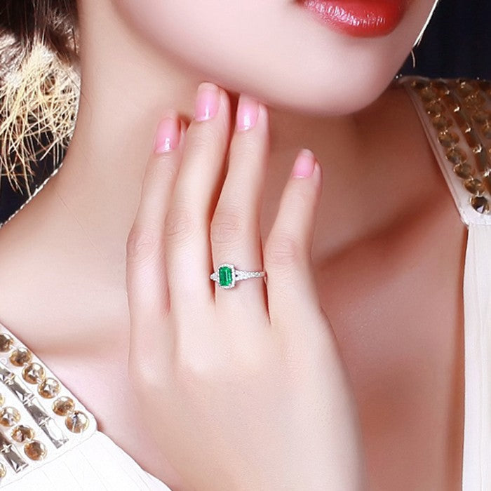 1.50 Carat Emerald and Moissanite Diamond Halo Engagement Ring in White Gold for Her