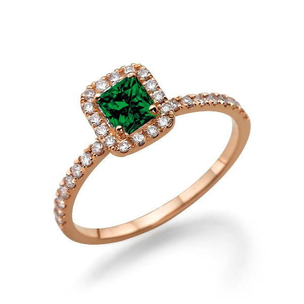 1.50 carat Emerald Cut Emerald and Moissanite Diamond Halo Engagement Ring in 10k Rose Gold