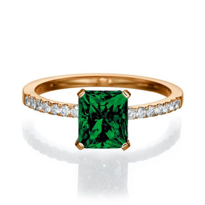 1.50 carat Emerald Cut Emerald Engagement Ring in 10k Rose Gold
