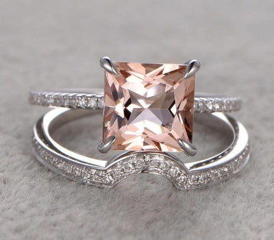 1.50 Carat Peach Pink Morganite (princess cut Morganite) Diamond Engagement Ring Wedding Bridal Set in 10k White Gold