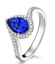 1.50 Carat pear cut Sapphire and Moissanite Diamond curved Engagement Ring for Women in White Gold