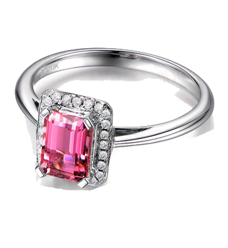 .50 Carat Ruby and Moissanite Diamond Halo Engagement Ring in White Gold