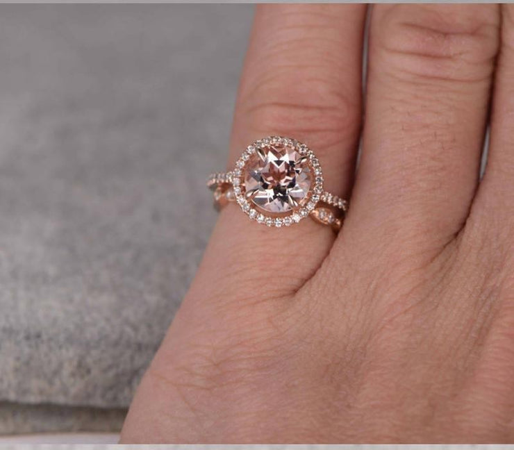 1.50 carat Round Cut Morganite Bridal Set with diamonds Halo Style in Rose Gold