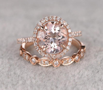 1.50 carat Round Cut Morganite Bridal Set with diamonds Halo Style