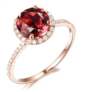 1.50 Carat Round Ruby and Moissanite Diamond Halo Engagement Ring for Women in Rose Gold