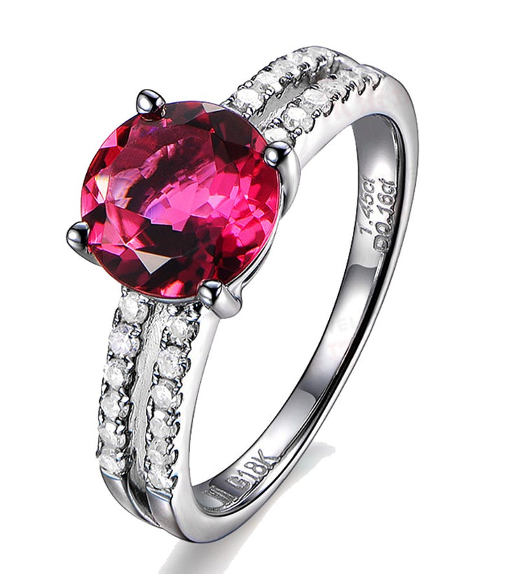 1.50 Carat Ruby and Moissanite Diamond Engagement Ring in White Gold