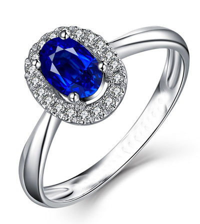 1.50 Carat Sapphire Halo Engagement Ring in White Gold for Her