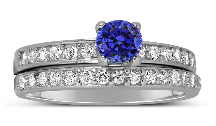 1.50 Carat Vintage Round cut Blue Sapphire and Moissanite Diamond Wedding Ring Set in White Gold
