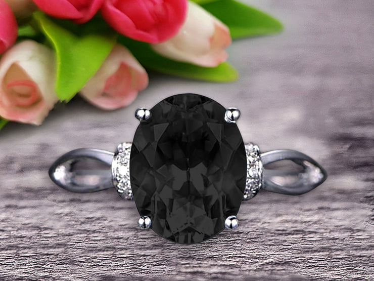 Oval Shape Gemstone Promise Ring 1.25 Carat Black Diamond Moissanite Engagement Ring Anniversary Gift On 10k Rose Gold Art Deco