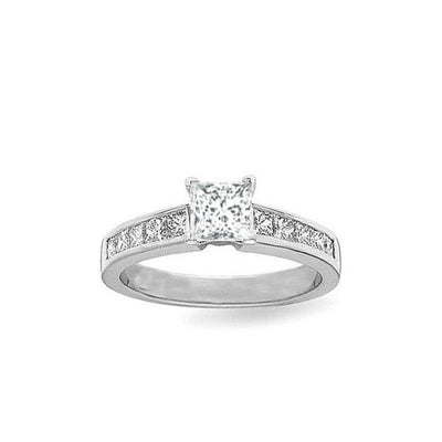 Moissanite Engagement ring 1.50 Princess Cut Moissanite Diamond Ring