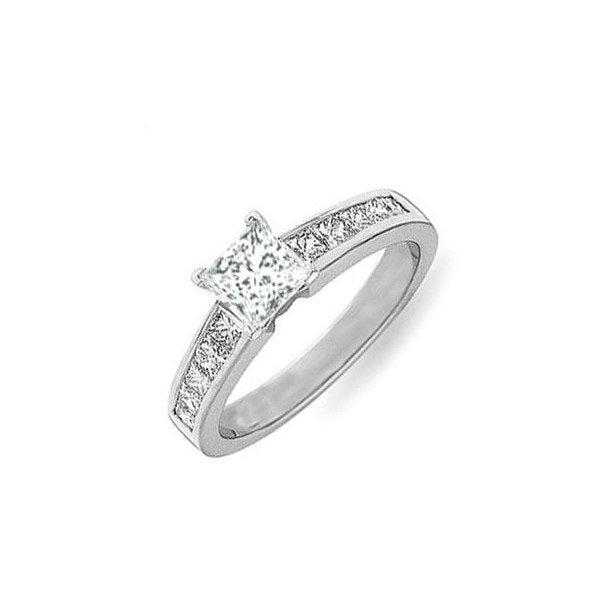 Moissanite Engagement ring 1.50 Princess Cut Moissanite Diamond Ring on 10k White Gold