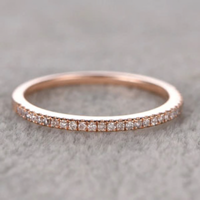0.25 ct Solid Semi Eternity Rose Gold Wedding Band with Real Diamonds