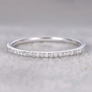 0.25 ct Solid Semi Eternity White Gold Wedding Band with Real Diamonds