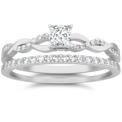 1.50 Carat Diamond Moissanite Wedding Set Engagement Ring on 10k White Gold