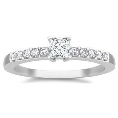 Classic Moissanite Bridal Set Engagement Ring 1.25 Carat on 10k White Gold
