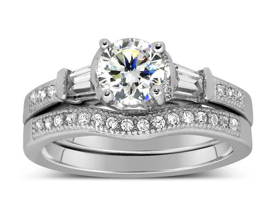 Antique 2.00 Carat Round Moissanite Wedding Ring Set with Baguette Moissanite for Her in White Gold