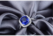 Antique 1.50 Carat cushion cut Sapphire and Moissanite Diamond Halo Engagement Ring in White Gold