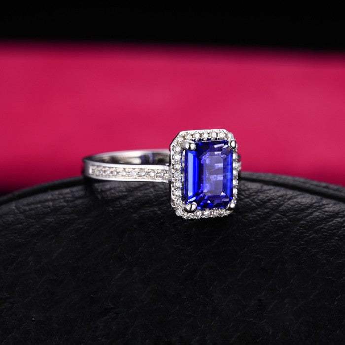 Antique 1.50 Carat emerald cut Blue Sapphire and Moissanite Diamond Halo Engagement Ring in White Gold