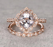 Antique 1.60 carat Round Cut Morganite Ring Set with Diamonds in Rose Gold Bestselling Design