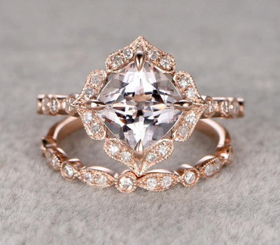 Antique 1.60 carat Cushion Cut Morganite Ring Set with Diamonds