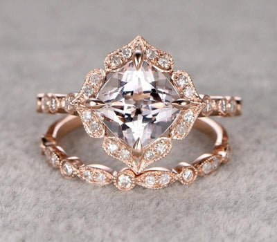 Antique 1.60 carat Cushion Cut Morganite Ring Set with Diamonds in Rose Gold