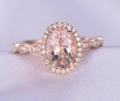 Antique Design 1.25 Carat Peach Pink Morganite Engagement Ring with Diamonds in 10k Rose Gold