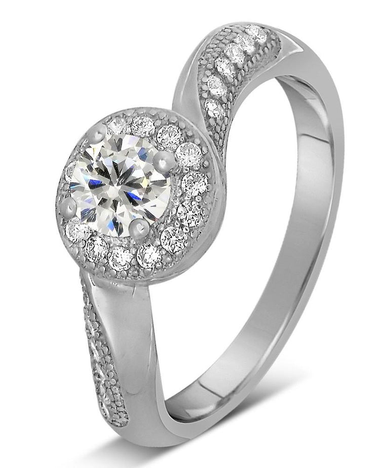 Antique 1.50 Carat Round Diamond and Moissanite Engagement Ring for Her