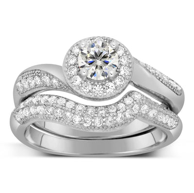 Designer 2.50 Carat Round Diamond and Moissanite Bridal Ring Set on 10k White Gold