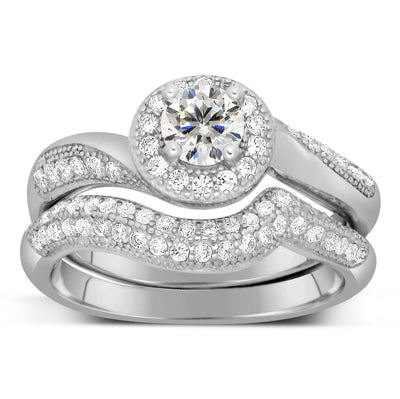Designer 2.50 Carat Round Diamond and Moissanite Bridal Ring Set
