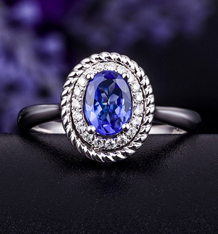 Antique Sapphire and Moissanite Diamond Halo Engagement Ring with 1.25 Carat weight in White Gold