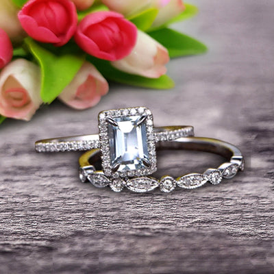 1.75 carat Classic Emerald Cut 10k White Gold, Art Deco Milgrain Bridal Aquamarine Wedding Diamond Ring Set
