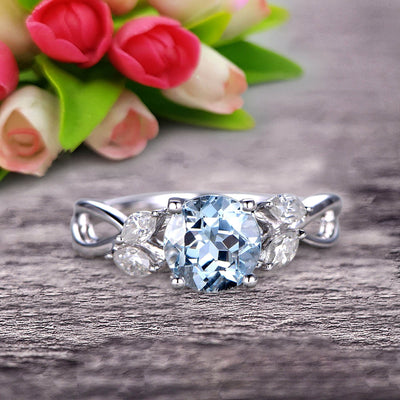 1.25 Carat With Diamonds Flower Marquise Cut White Gold Aquamarine Engagement Rings.