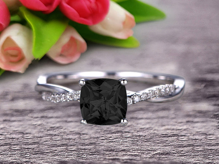 10k White Gold Black Diamond Moissanite Engagement Ring With 1.25 Carat Cushion Cut Vintage Looking Natural Black Diamond Moissanite
